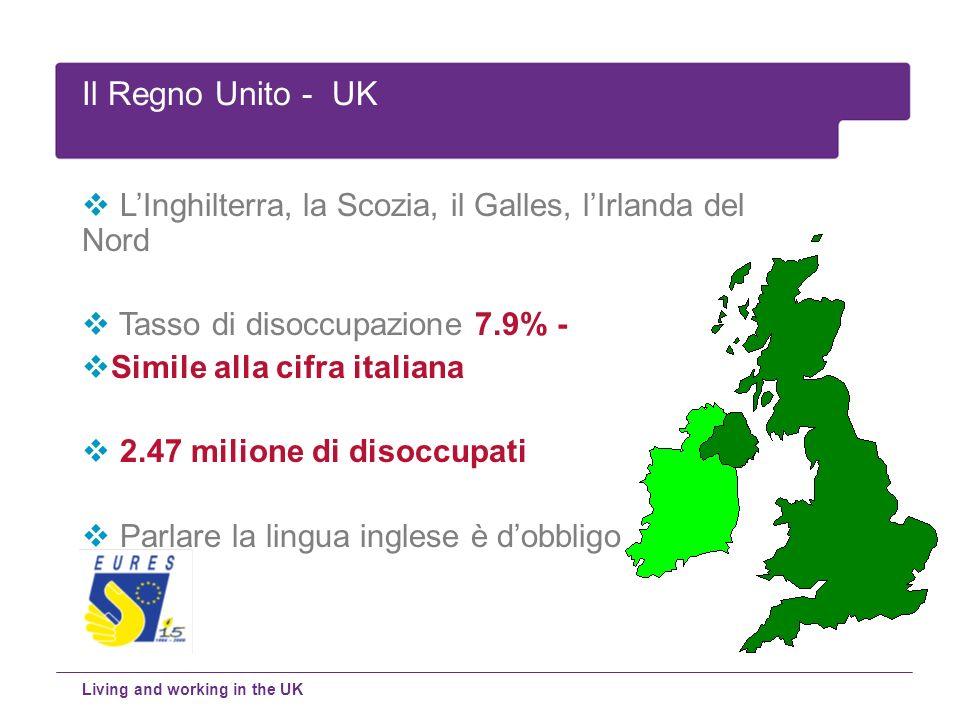 Il Regno Unito - UK L'Inghilterra, la Scozia, il Galles, l'Irlanda del Nord. Tasso di disoccupazione 7.9% -