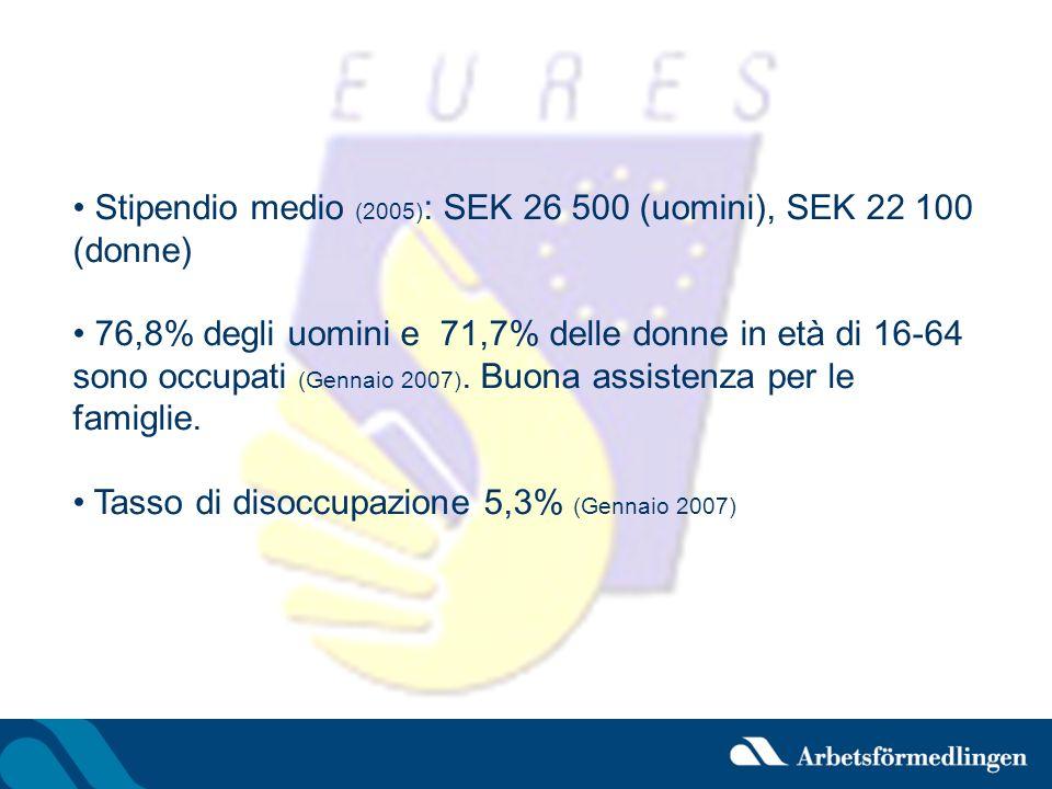 Stipendio medio (2005): SEK 26 500 (uomini), SEK 22 100 (donne)