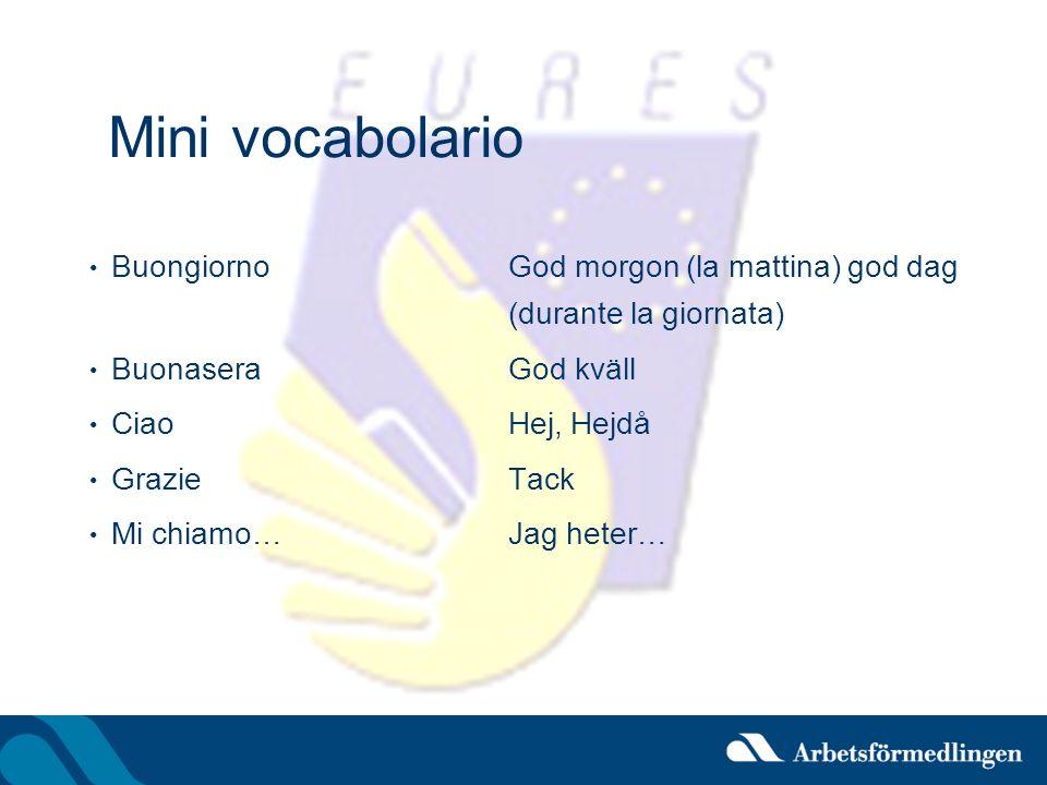 Mini vocabolario Buongiorno God morgon (la mattina) god dag (durante la giornata) Buonasera God kväll.