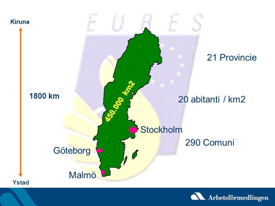 21 Provincie 20 abitanti / km2 Stockholm 290 Comuni Göteborg Malmö