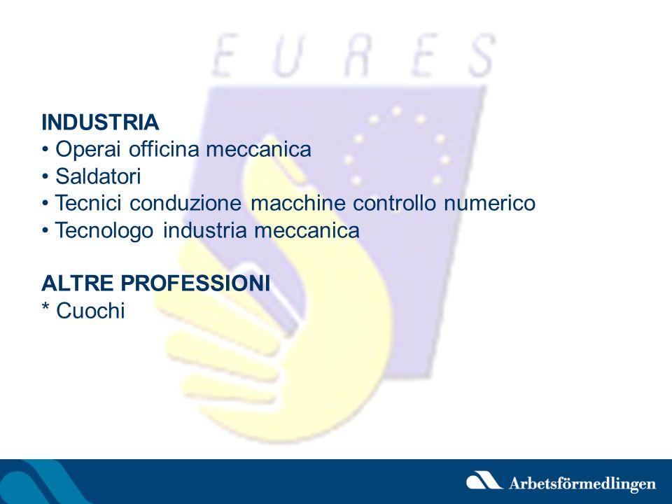 INDUSTRIA Operai officina meccanica. Saldatori. Tecnici conduzione macchine controllo numerico. Tecnologo industria meccanica.