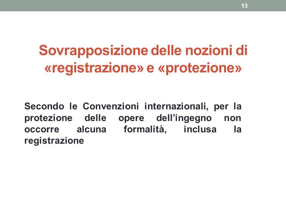 Sovrapposizione delle nozioni di «registrazione» e «protezione»