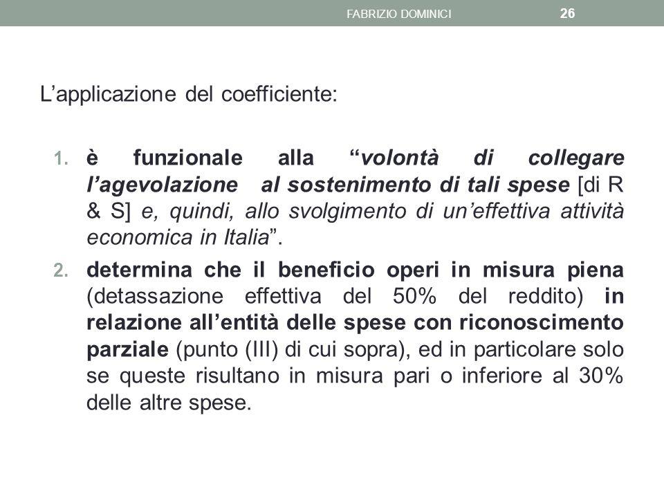 L'applicazione del coefficiente: