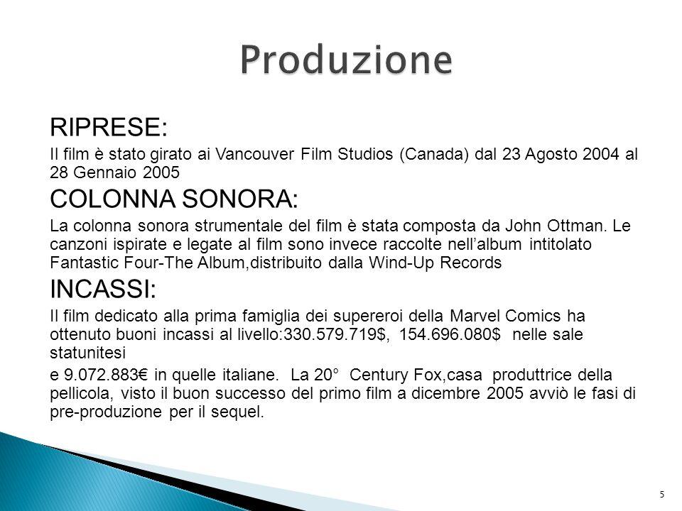 Produzione RIPRESE: COLONNA SONORA: INCASSI: