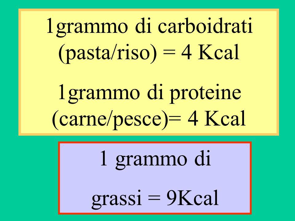 1grammo di carboidrati (pasta/riso) = 4 Kcal