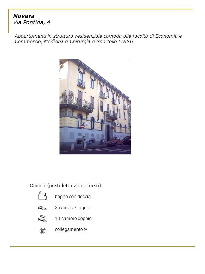 Novara Via Pontida, 4 Appartamenti in struttura residenziale comoda alle facoltà di Economia e Commercio, Medicina e Chirurgia e Sportello EDISU.