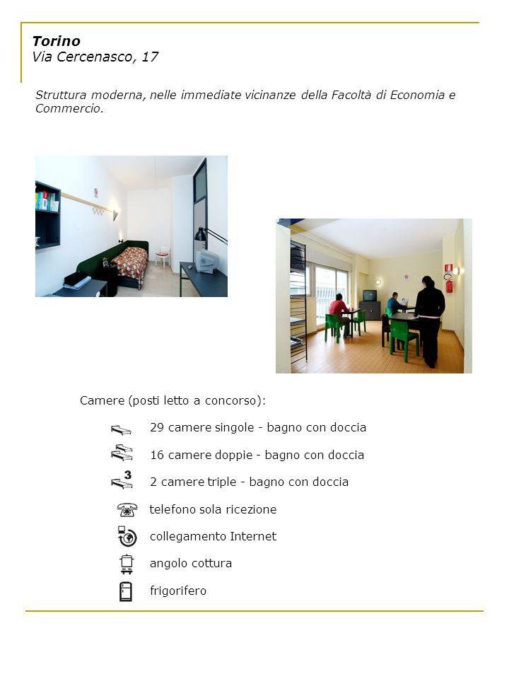 Torino Via Cercenasco, 17 Struttura moderna, nelle immediate vicinanze della Facoltà di Economia e Commercio.