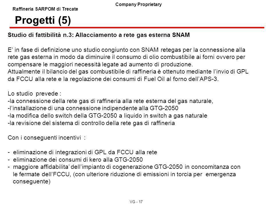 Progetti (5) Studio di fattibilità n.3: Allacciamento a rete gas esterna SNAM.