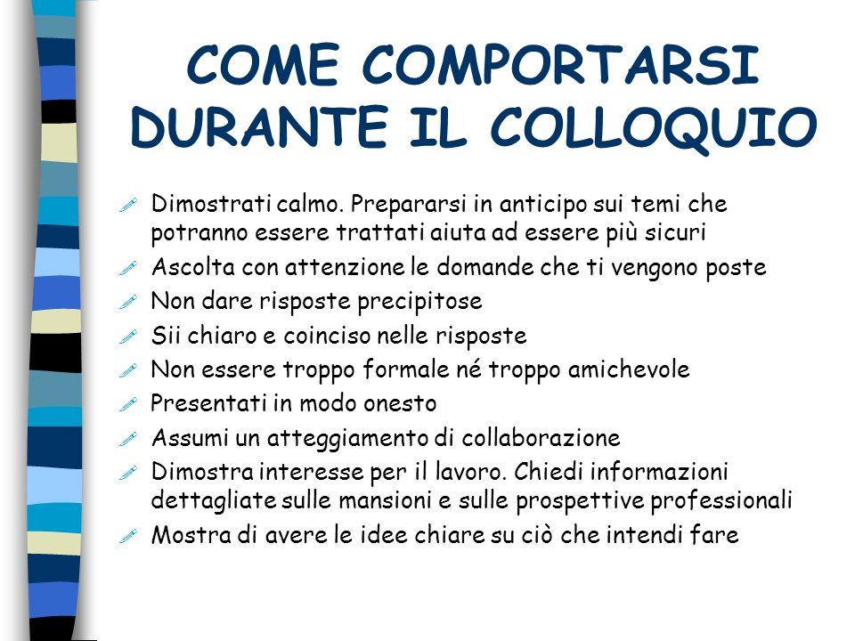 COME COMPORTARSI DURANTE IL COLLOQUIO