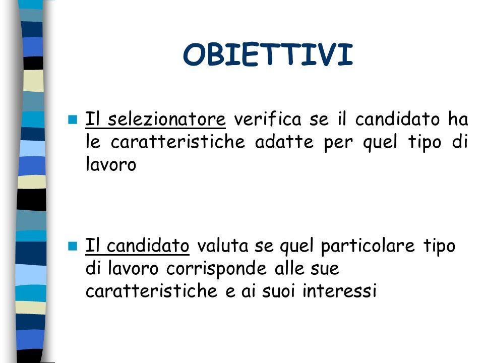 OBIETTIVI Il selezionatore verifica se il candidato ha le caratteristiche adatte per quel tipo di lavoro.