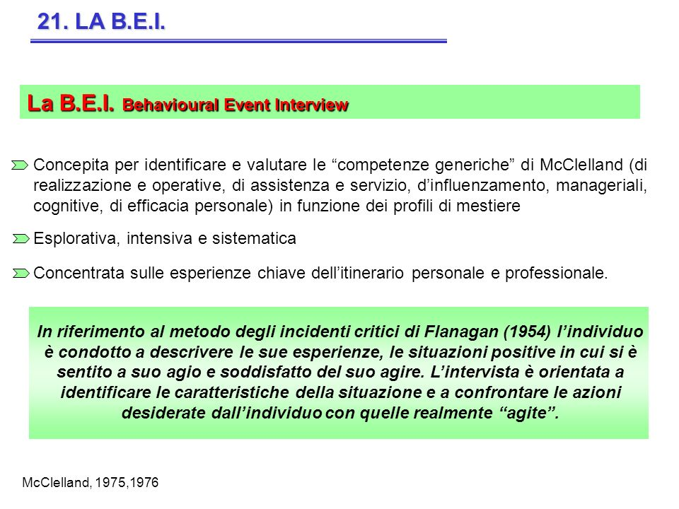 La B.E.I. Behavioural Event Interview