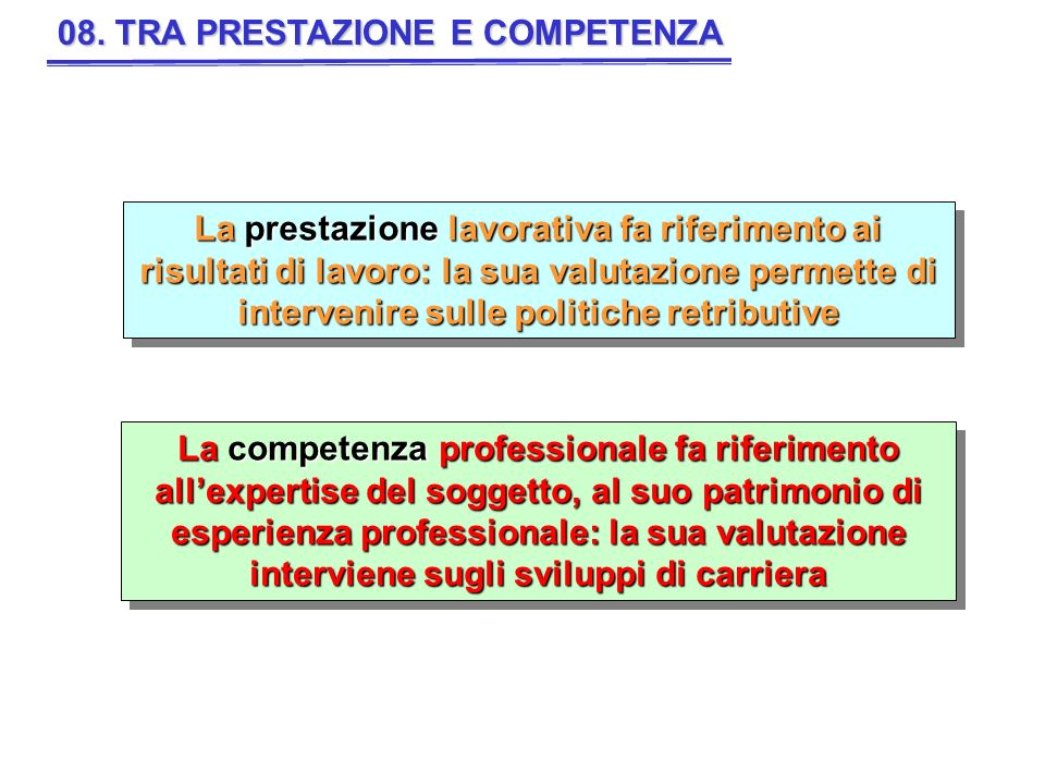 08. TRA PRESTAZIONE E COMPETENZA