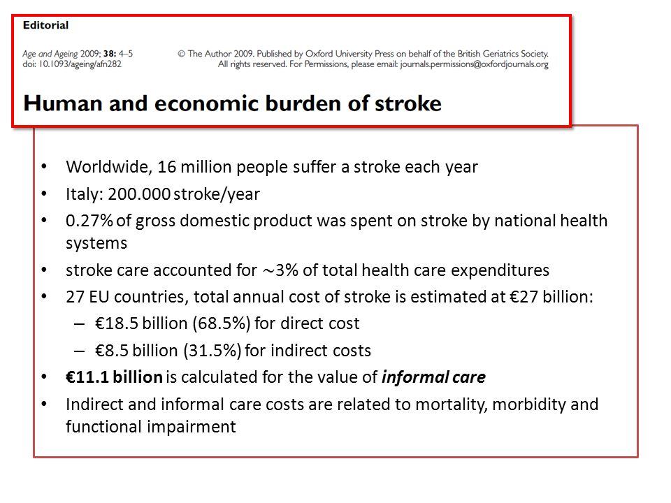 Worldwide, 16 million people suffer a stroke each year