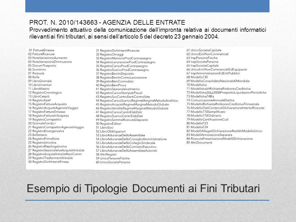 Esempio di Tipologie Documenti ai Fini Tributari
