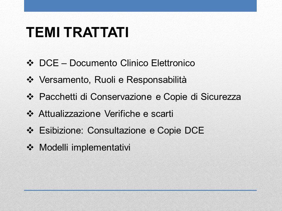 TEMI TRATTATI DCE – Documento Clinico Elettronico