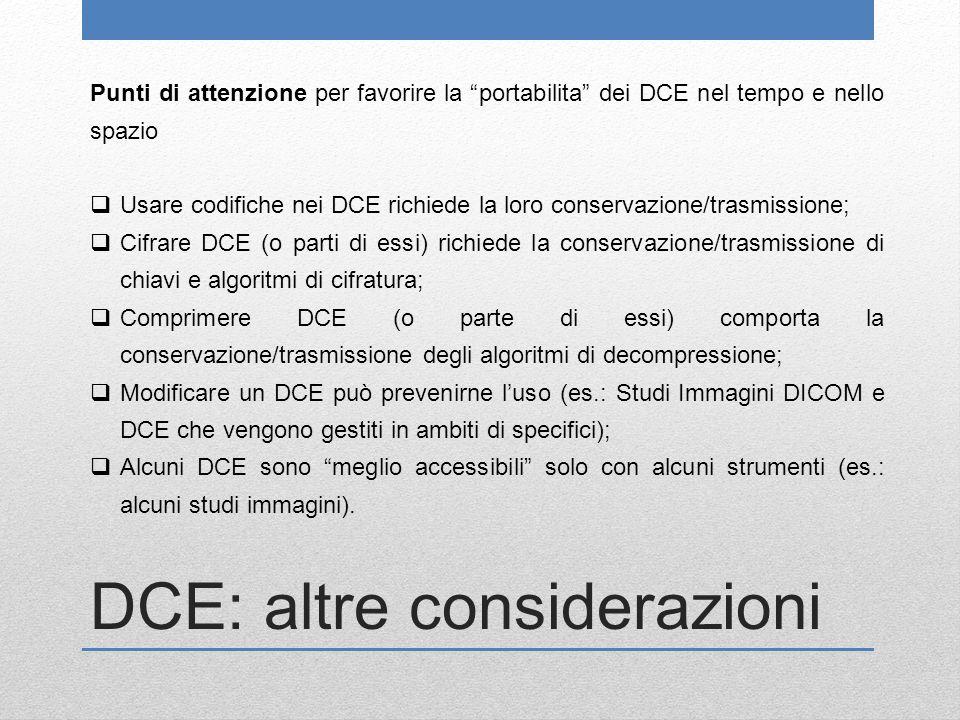 DCE: altre considerazioni