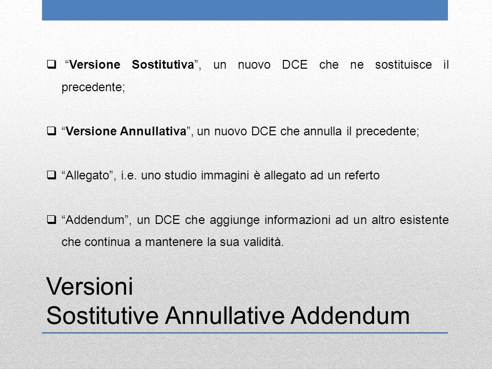 Versioni Sostitutive Annullative Addendum