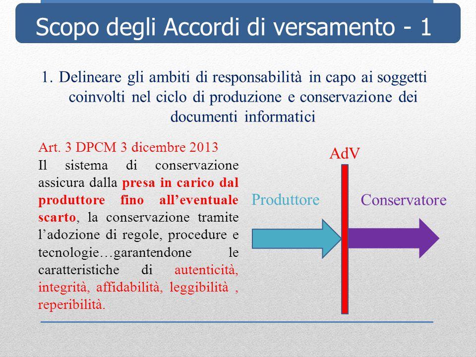 Scopo degli Accordi di versamento - 1