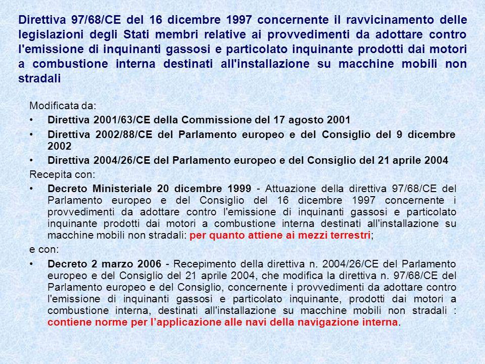 Direttiva 97/68/CE del 16 dicembre 1997 concernente il ravvicinamento delle legislazioni degli Stati membri relative ai provvedimenti da adottare contro l emissione di inquinanti gassosi e particolato inquinante prodotti dai motori a combustione interna destinati all installazione su macchine mobili non stradali