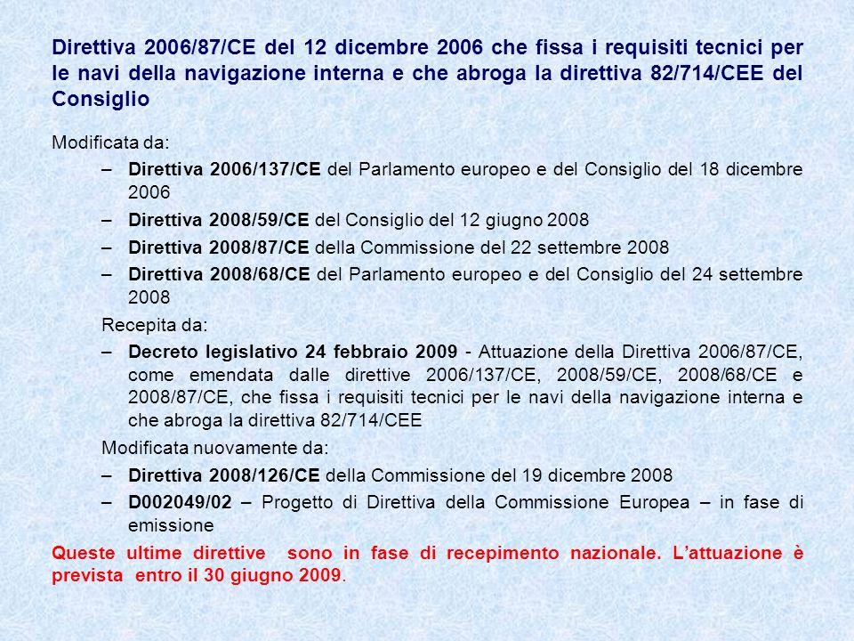 Direttiva 2006/87/CE del 12 dicembre 2006 che fissa i requisiti tecnici per le navi della navigazione interna e che abroga la direttiva 82/714/CEE del Consiglio