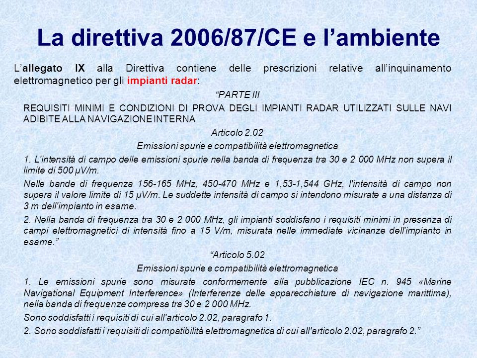 La direttiva 2006/87/CE e l'ambiente