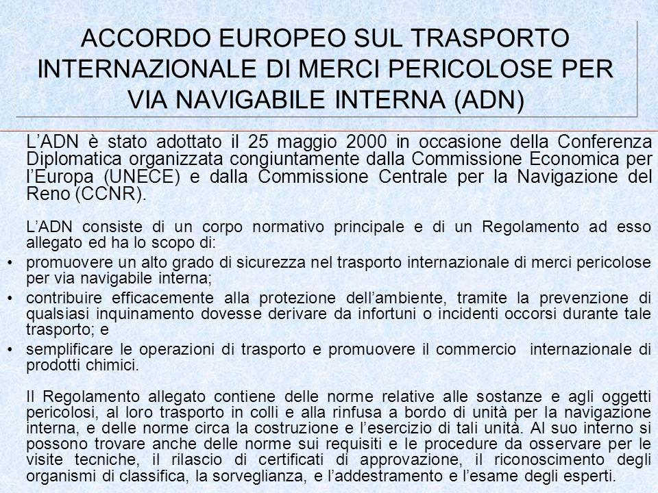 ACCORDO EUROPEO SUL TRASPORTO INTERNAZIONALE DI MERCI PERICOLOSE PER VIA NAVIGABILE INTERNA (ADN)