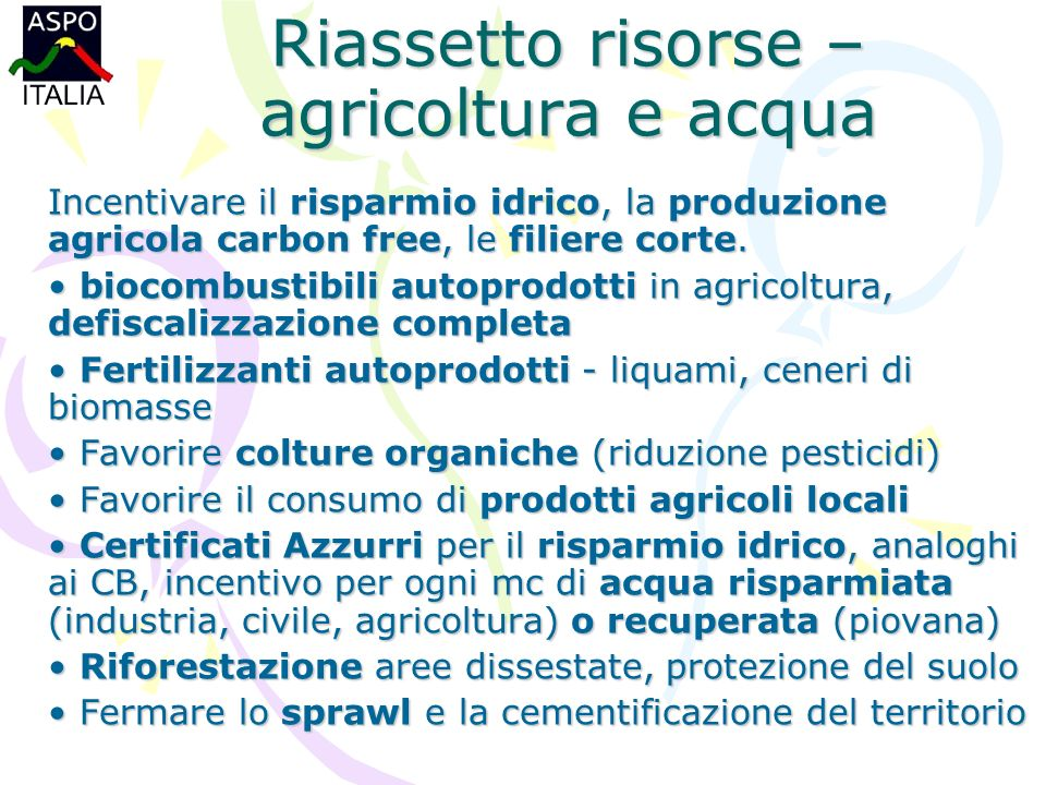 Riassetto risorse – agricoltura e acqua