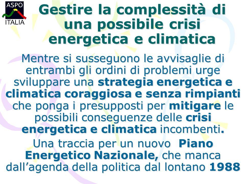 Gestire la complessità di una possibile crisi energetica e climatica