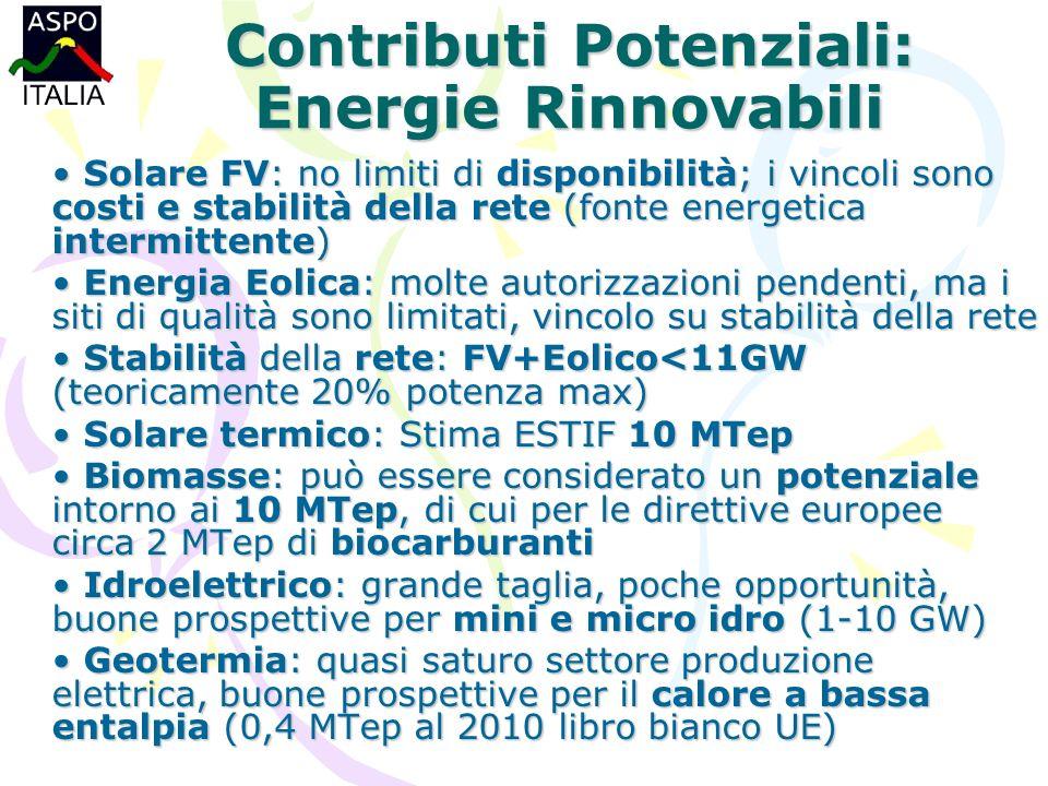 Contributi Potenziali: Energie Rinnovabili