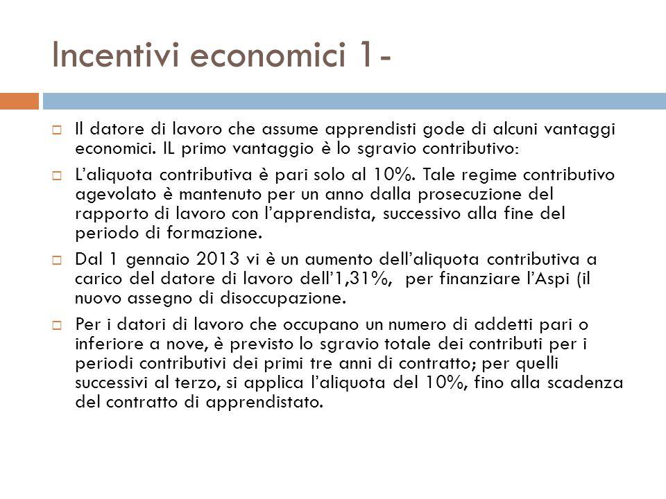 Incentivi economici 1- Il datore di lavoro che assume apprendisti gode di alcuni vantaggi economici. IL primo vantaggio è lo sgravio contributivo: