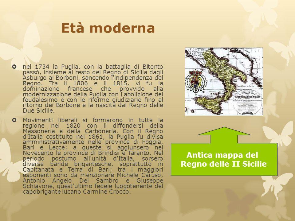 Età moderna Antica mappa del Regno delle II Sicilie