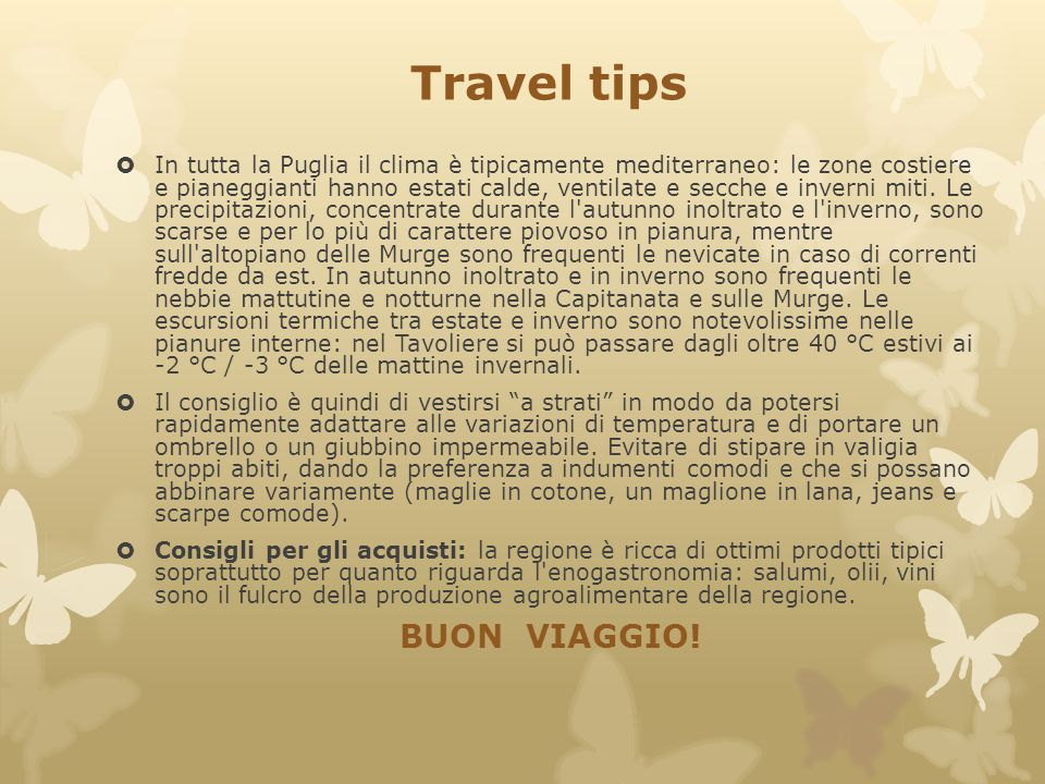 Travel tips BUON VIAGGIO!