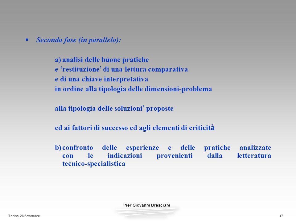 Seconda fase (in parallelo): a) analisi delle buone pratiche
