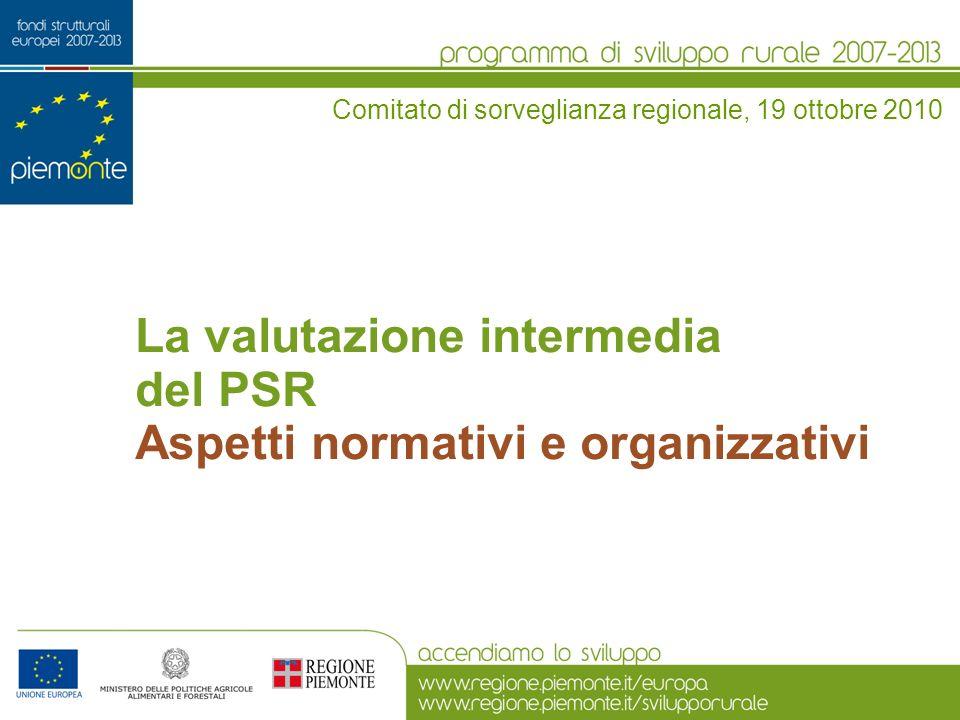 La valutazione intermedia del PSR Aspetti normativi e organizzativi