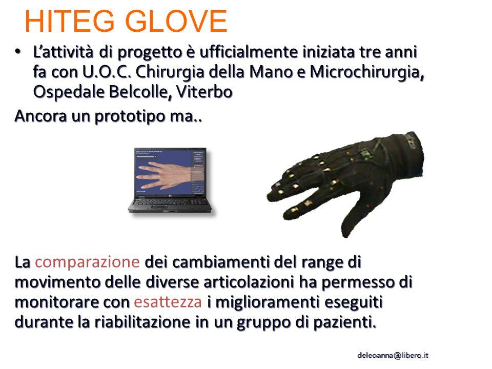 HITEG GLOVE L'attività di progetto è ufficialmente iniziata tre anni fa con U.O.C. Chirurgia della Mano e Microchirurgia, Ospedale Belcolle, Viterbo.
