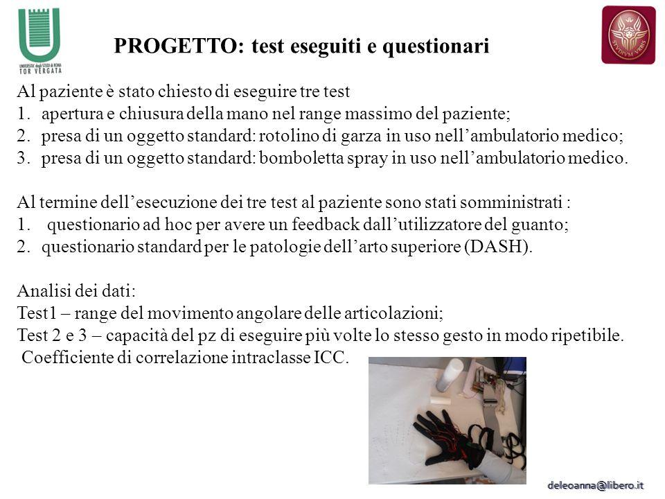 PROGETTO: test eseguiti e questionari