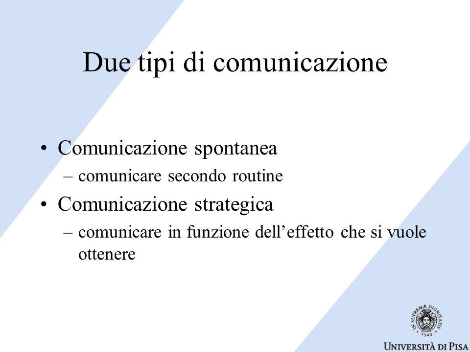Due tipi di comunicazione