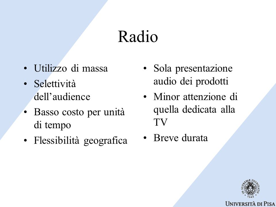 Radio Utilizzo di massa Selettività dell'audience
