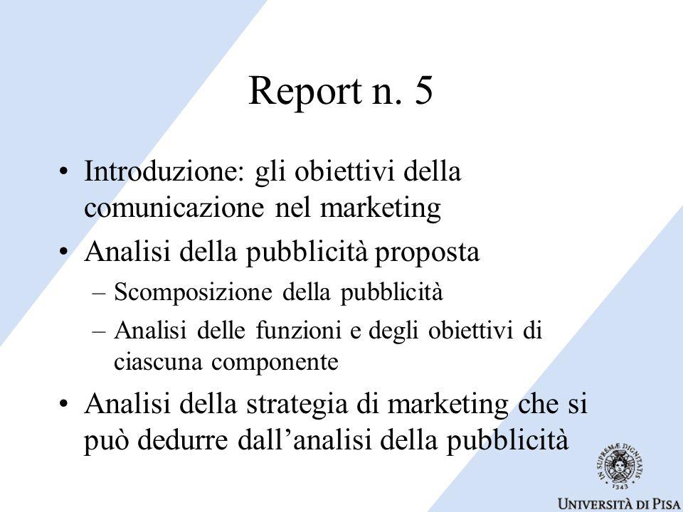 Report n. 5 Introduzione: gli obiettivi della comunicazione nel marketing. Analisi della pubblicità proposta.
