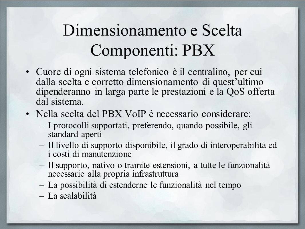 Dimensionamento e Scelta Componenti: PBX