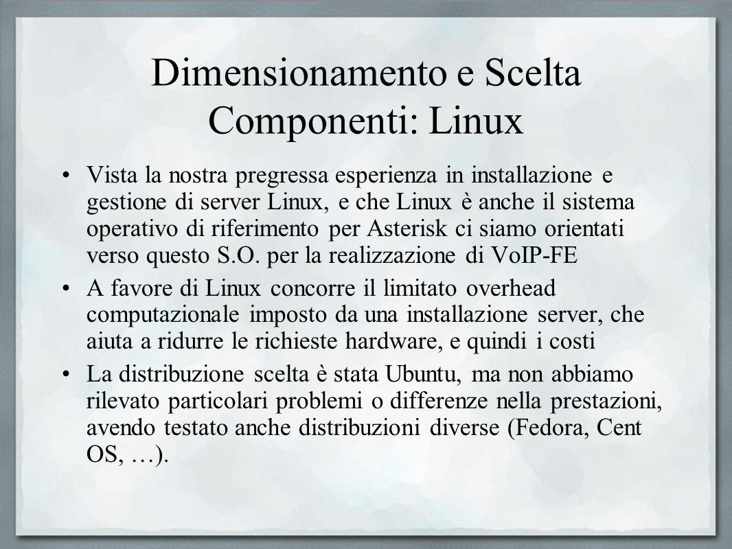 Dimensionamento e Scelta Componenti: Linux