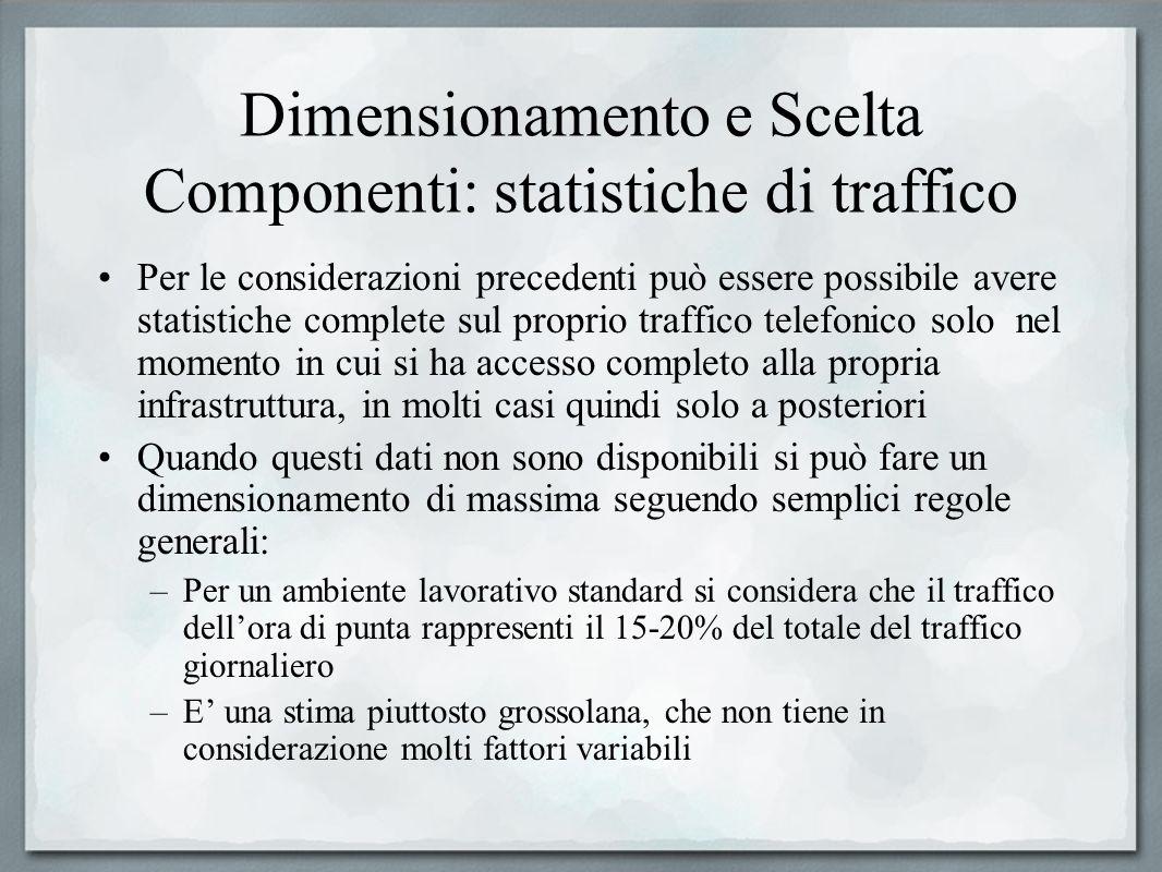 Dimensionamento e Scelta Componenti: statistiche di traffico