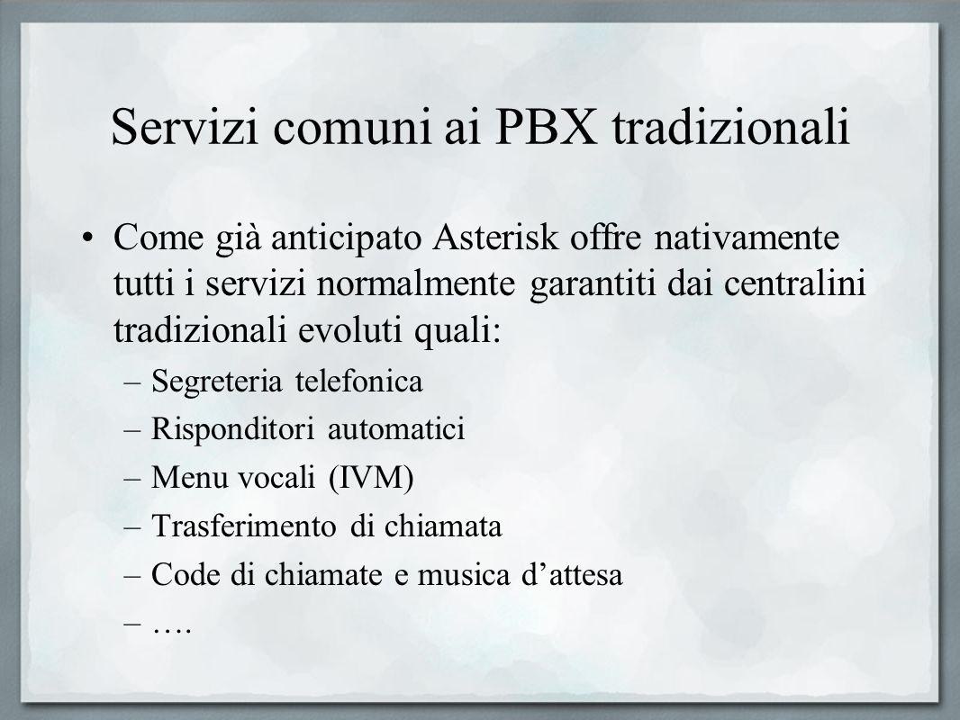 Servizi comuni ai PBX tradizionali