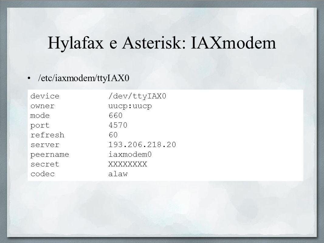 Hylafax e Asterisk: IAXmodem