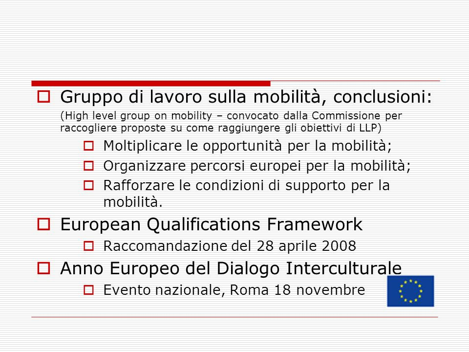 Gruppo di lavoro sulla mobilità, conclusioni: