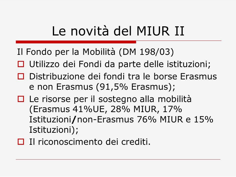 Le novità del MIUR II Il Fondo per la Mobilità (DM 198/03)