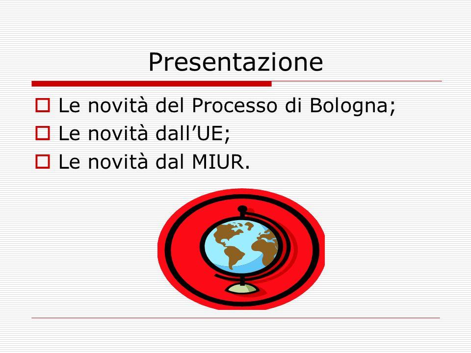 Presentazione Le novità del Processo di Bologna; Le novità dall'UE;