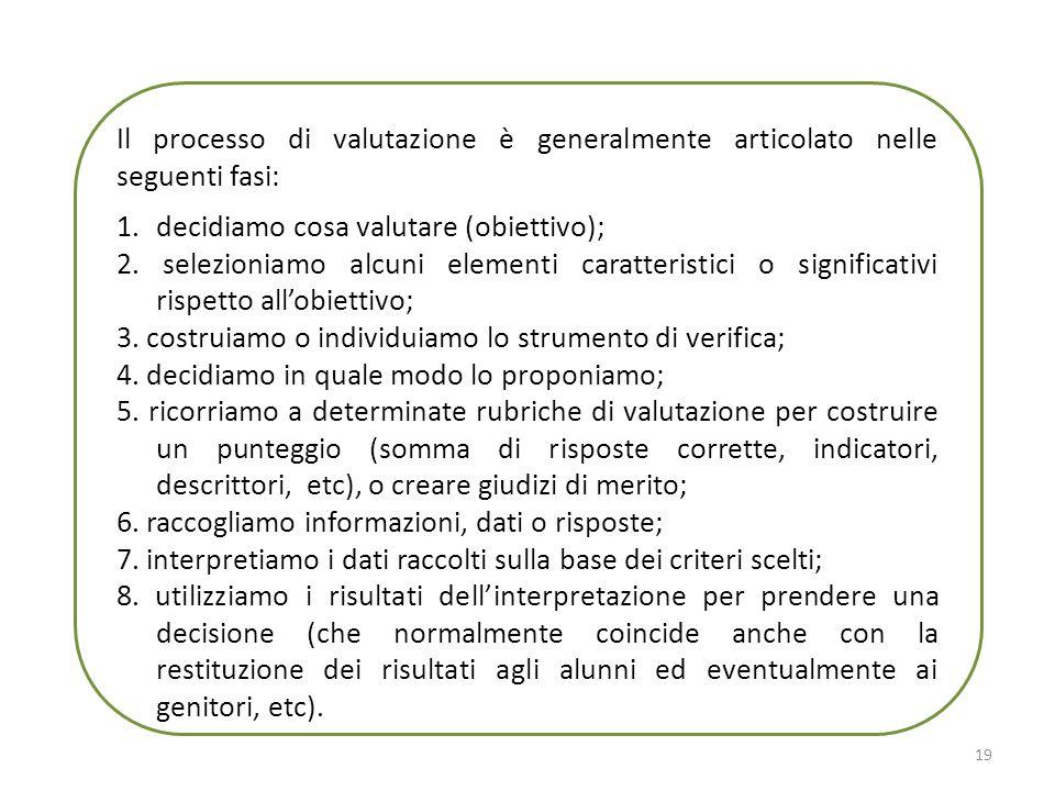 Il processo di valutazione è generalmente articolato nelle seguenti fasi:
