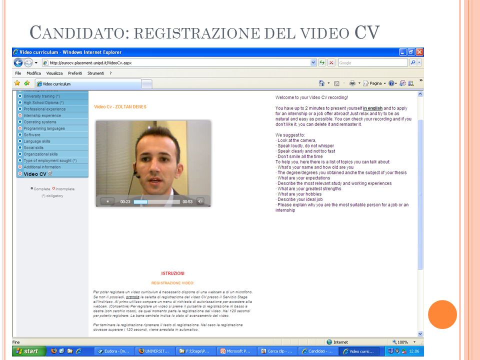 Candidato: registrazione del video CV