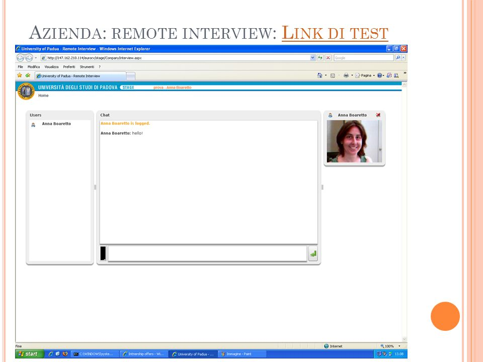 Azienda: remote interview: Link di test